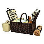 Picnic at Ascot Buckingham 4-Person Picnic Basket with Blanket in Tan