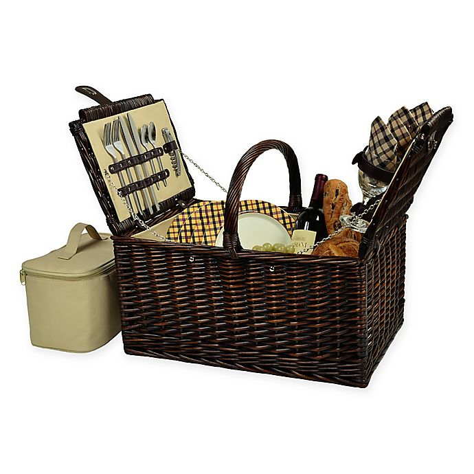 Alternate image 1 for Picnic at Ascot Buckingham 4-Person Picnic Basket in Brown