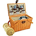 Picnic at Ascot Frisco Picnic Basket for 2 with Blanket in Blue