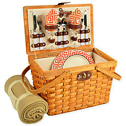 Picnic at Ascot Frisco Striped Picnic Basket for 2 with Blanket