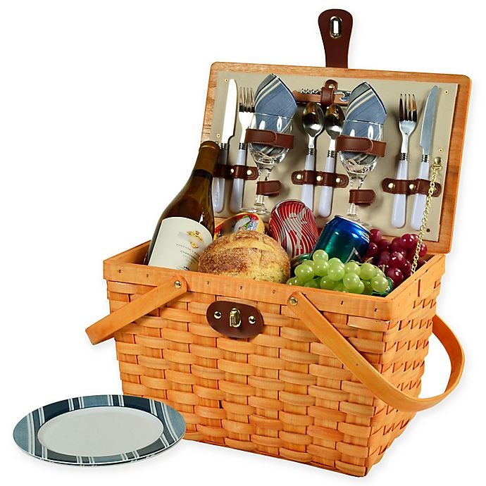 Alternate image 1 for Picnic at Ascot Frisco Stripe Picnic Basket for 2 in Blue