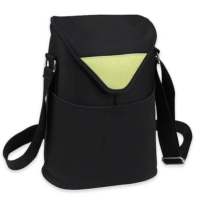 Alternate image 1 for Picnic at Ascot 2-Bottle Wine/Water Bottle Tote in Black/Green