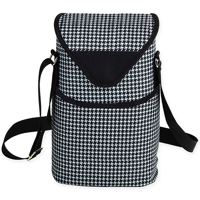 Alternate image 1 for Picnic at Ascot 2-Bottle Houndstooth Print Wine/Water Bottle Tote in Black/White