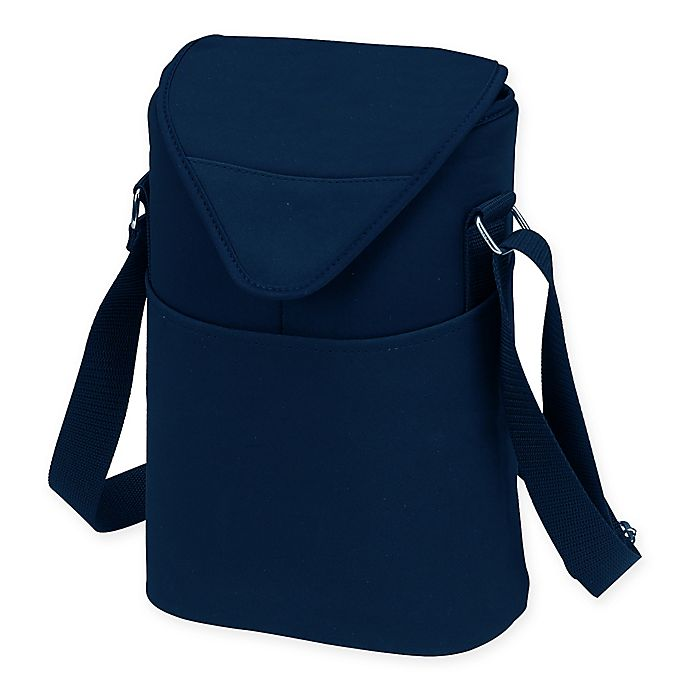Alternate image 1 for Picnic at Ascot 2-Bottle Wine/Water Bottle Tote in Navy