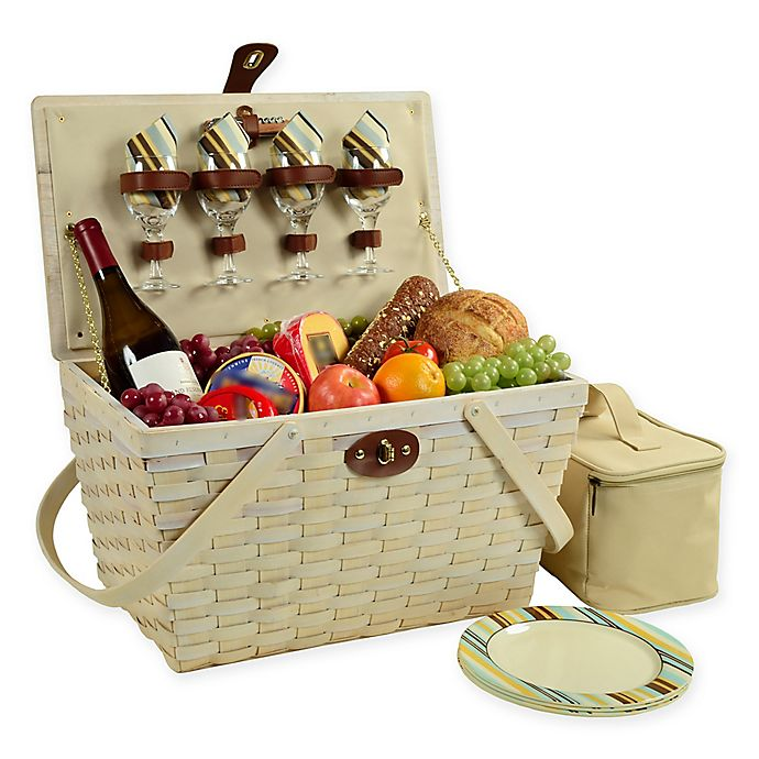 Alternate image 1 for Picnic at Ascot Settler Picnic Basket with Service for 4 in Whitewash