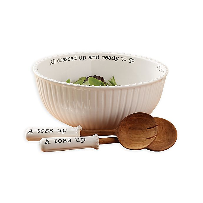 Alternate image 1 for Mud Pie® 3-Piece All Dressed Up Salad Bowl and Server Set