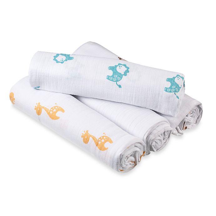 Alternate image 1 for aden® by aden + anais® Safari Muslin 4-Pack swaddleplus® Blankets