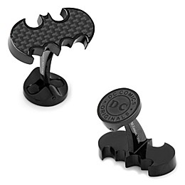 DC Comics Black Stainless Steel Carbon Fiber Batman Logo Cufflinks