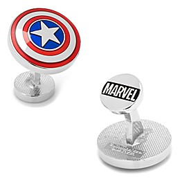 Marvel® Silvertone Captain America Shield Transparent Enamel Cufflinks