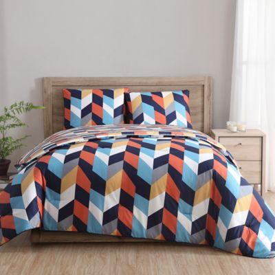 Clairebella Geometric Reversible Comforter Set In Indigo