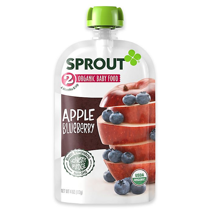 Alternate image 1 for Sprout® 4 oz. Stage 2 Organic Baby Food in Apple and Blueberry