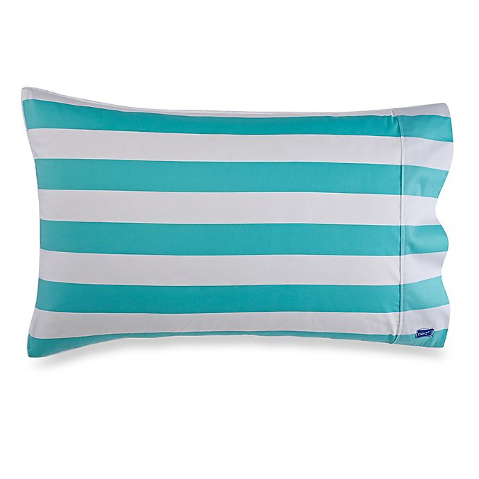 Alternate image 1 for DRYZzz® Two-Sided Standard Stripe Towel/Pillowcase in Aqua/White