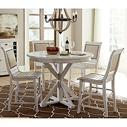 Progressive Furniture Willow Round Counter Height Dining Table in Distressed White