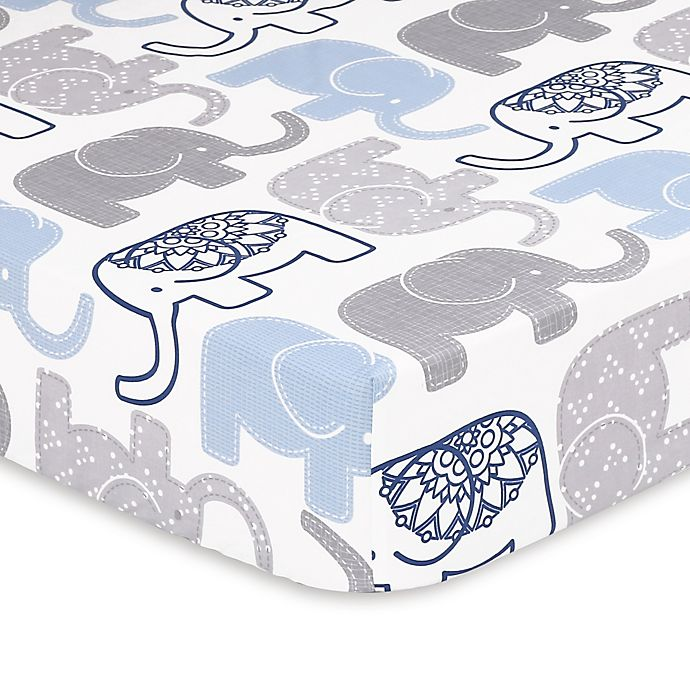 Alternate image 1 for The Peanutshell™ Little Peanut Elephant Fitted Crib Sheet in Navy