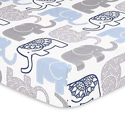 The Peanutshell™ Little Peanut Elephant Fitted Crib Sheet in Navy