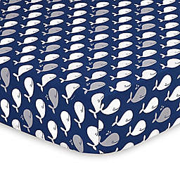 The Peanutshell™  Whale Fitted Crib Sheet in Navy