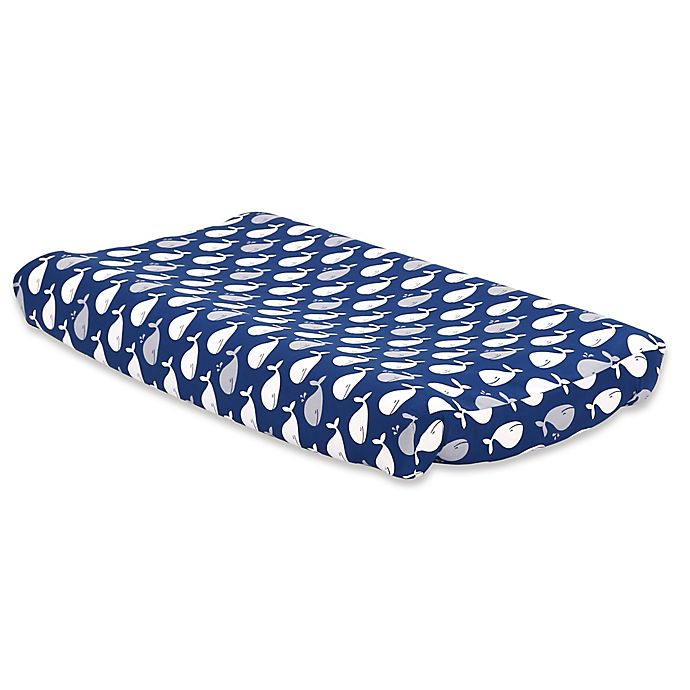Alternate image 1 for The Peanutshell™ Whale Changing Pad Cover in Navy