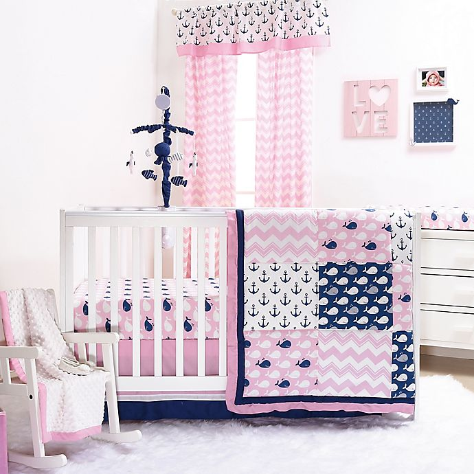 The Peanutshell Whale Crib Bedding Collection In Pink