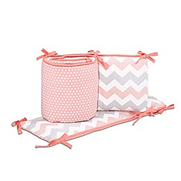 The Peanutshell™ Uptown Girl Crib Bumper in Coral