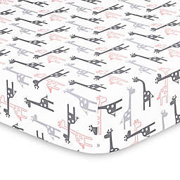 The Peanutshell™ Uptown Girl Fitted Crib Sheet in Coral