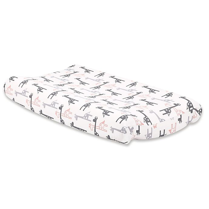 Alternate image 1 for The Peanutshell™ Uptown Girl Giraffe Changing Pad Cover in Coral