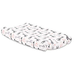 The Peanutshell™ Uptown Girl Giraffe Changing Pad Cover in Coral