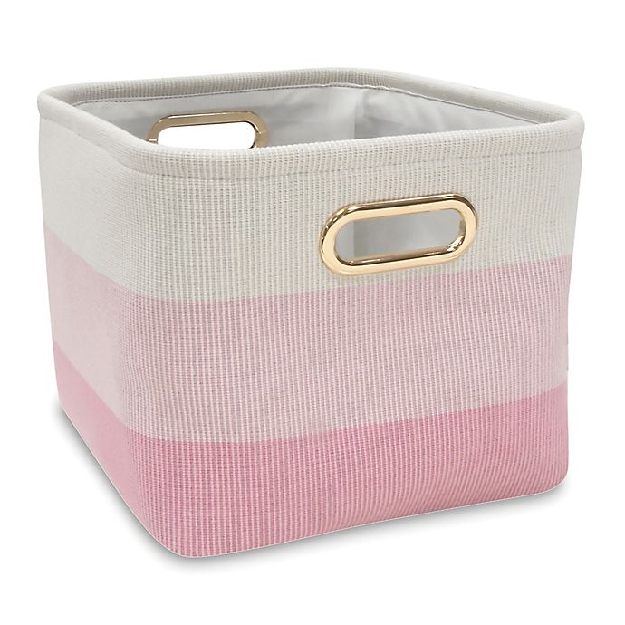 Alternate image 1 for Lambs & Ivy® Ombre Storage Basket in Pink/Gold