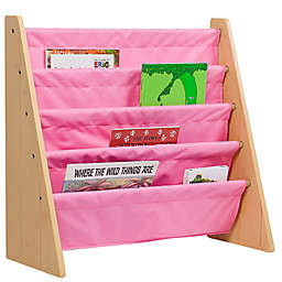 Wildkin Kid's Kai Sling Book Shelf in Natural/Pink