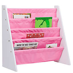 Wildkin Kid's Kai Sling Bookshelf in White/Pink