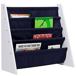 Wildkin Kid's Kai Sling Bookshelf in White/Blue