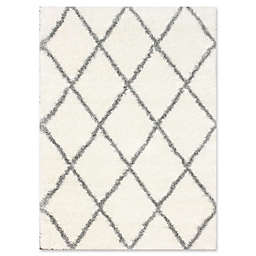 nuLOOM Plush Diamond Shag Rug in Grey
