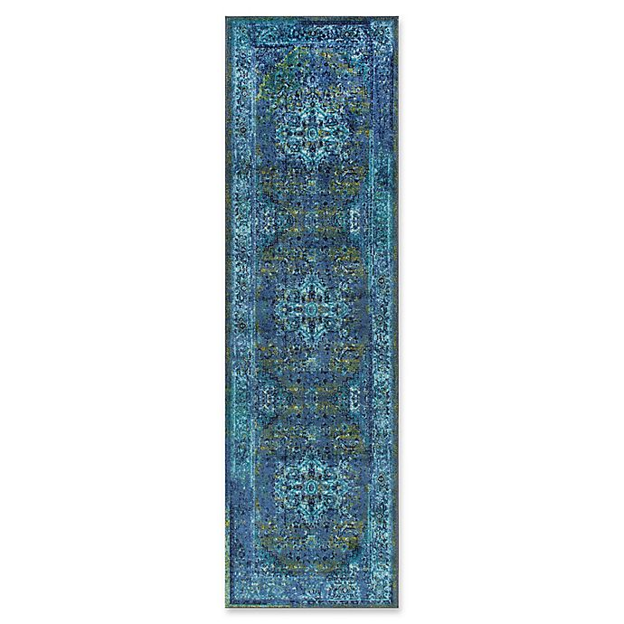 Alternate image 1 for nuLOOM Giza Vintage Reiko 2-Foot 6-Inch x 8-Foot Runner Rug in Blue