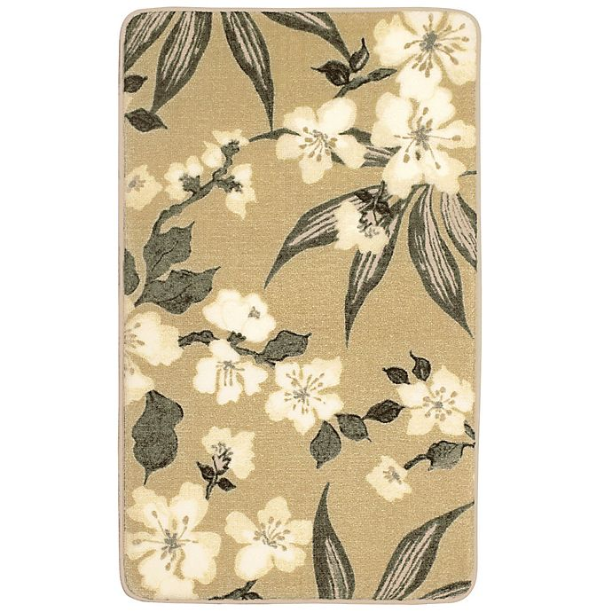 Alternate image 1 for Laura Ashley Madeline 20-Inch x 34-Inch Memory Foam Accent Rug in Taupe