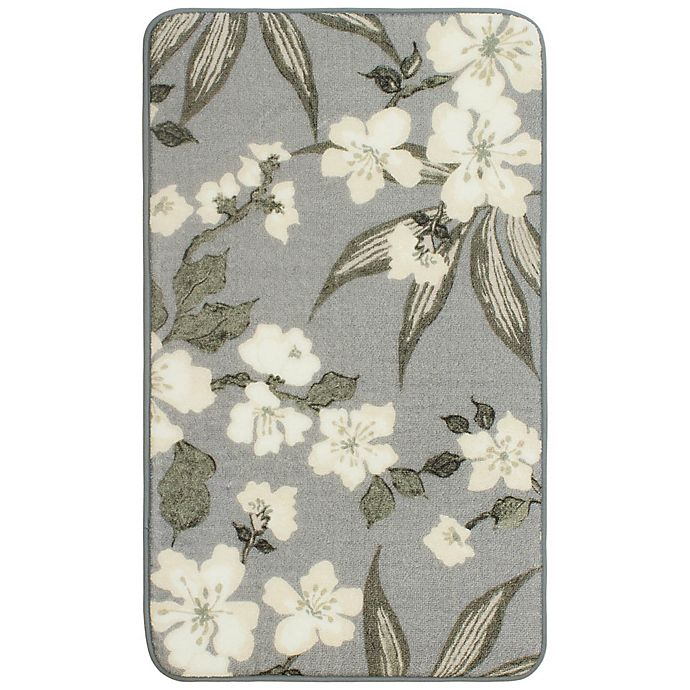 Alternate image 1 for Laura Ashley Madeline 20-Inch x 34-Inch Memory Foam Accent Rug in Grey