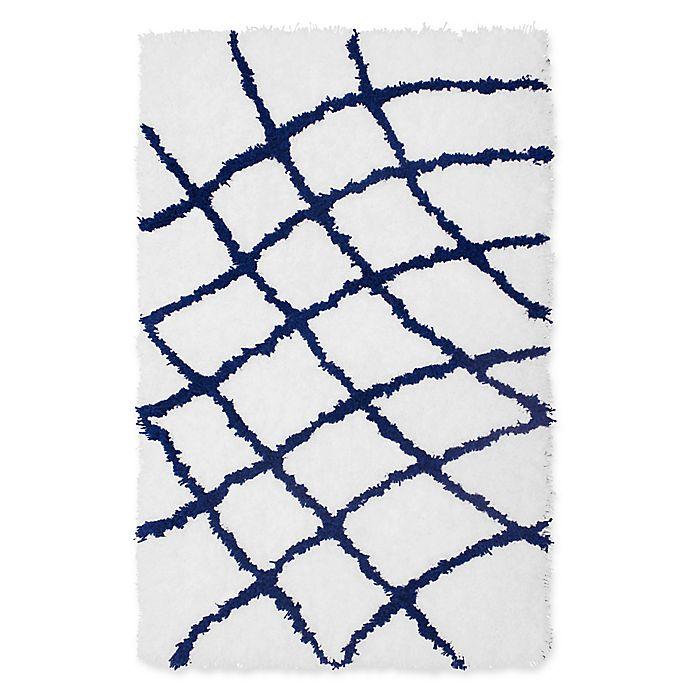 Alternate image 1 for Vista Living Diamond 2-Foot x 3-Foot Shag Accent Rug in Indigo/White