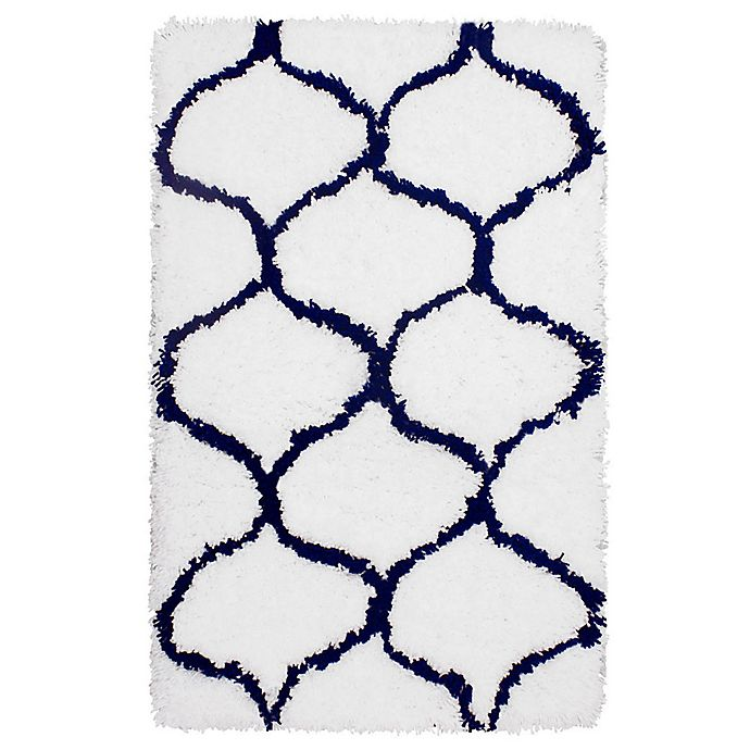 Alternate image 1 for Vista Living Alfred Chunky Shag 2-Foot x 3-Foot Accent Rug in Indigo/White