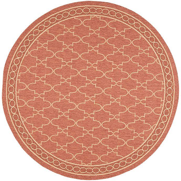 Alternate image 1 for Safavieh Courtyard Trellis 6-Foot 7-Inch Round Indoor/Outdoor Area Rug in Rust
