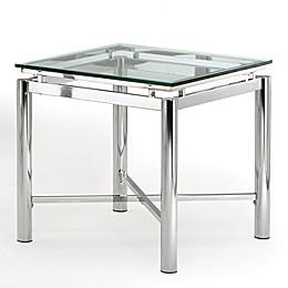 Steve Silver Co. Nova Glass End Table in Chrome