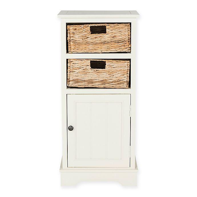 2 Wicker Basket Storage Cabinet, White Wicker Bathroom Cabinet
