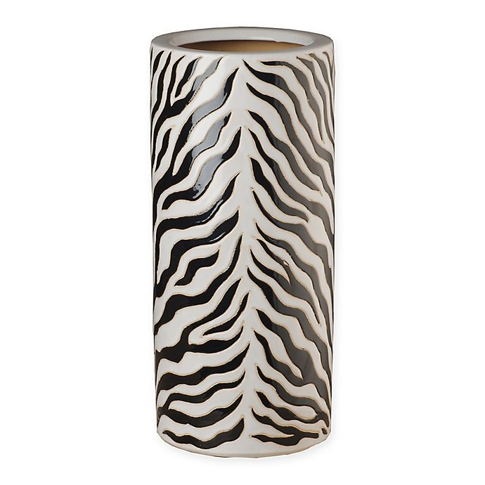 Alternate image 1 for Emissary Zebra Ceramic Umbrella Stand in Black/White