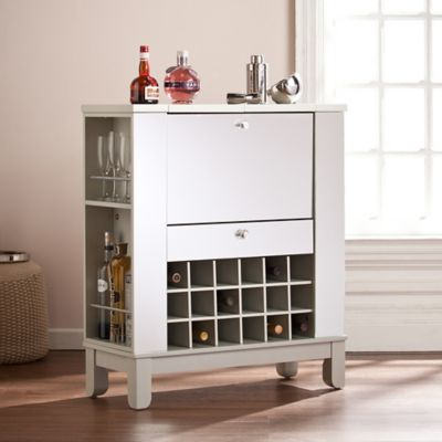 Southern Enterprises Mirage Mirrored Fold Out Wine Bar