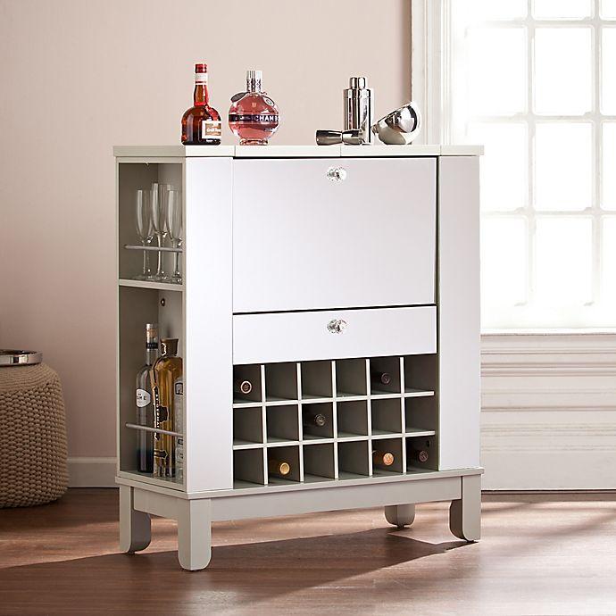 Dontos Industrial Kitchen Cart Southern Enterprises: Southern Enterprises Mirage Mirrored Fold-Out Wine/Bar