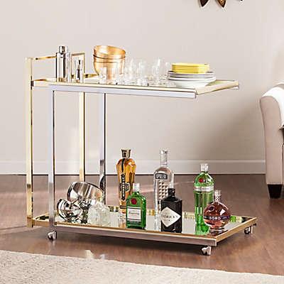 Southern Enterprises Riata Bar Cart in Silver/Gold