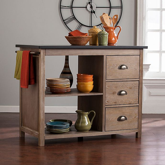 Southern Enterprises Denning Industrial Kitchen Island In