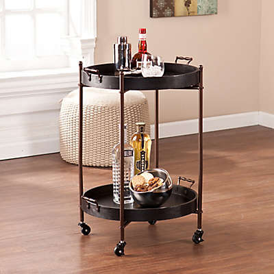 Southern Enterprises Alfred 2-Tier Round Butler Serving Cart in Black