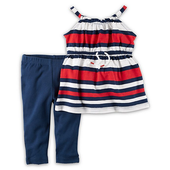 Alternate image 1 for carter's® 2-Piece Striped Tunic and Pant Set in Navy