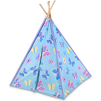 Olive Kids Butterfly Garden Canvas Teepee in Blue