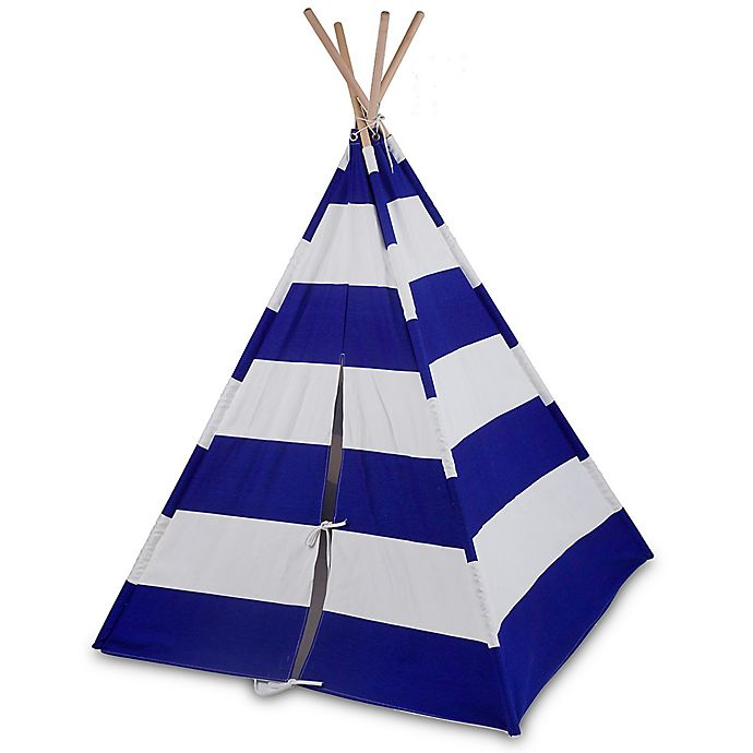 Alternate image 1 for Wildkin Striped Canvas TeePee in Blue