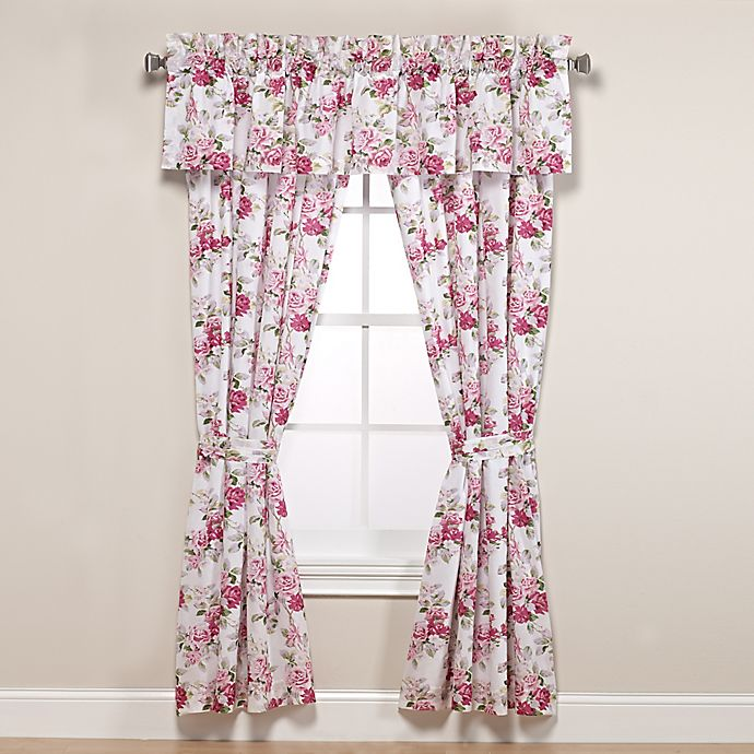Alternate image 1 for Laura Ashley® Lidia 84-Inch Rod Pocket Window Curtain Panel Pair in Pink