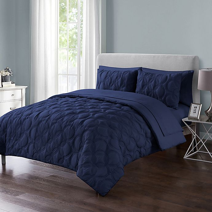 Alternate image 1 for VCNY Home Atoll Embossed 7-Piece Full Comforter Set in Navy